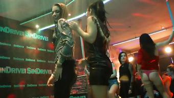 Горячие девушки развлеклись на вечеринке в ночном клубе